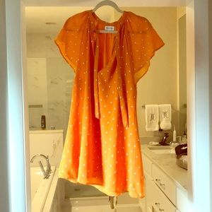 Orange silk babydoll dress